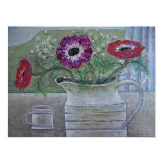 Anemones in White Jug 2013 Poster