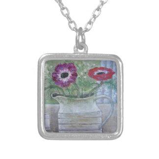 Anemones in White Jug 2013 Square Pendant Necklace