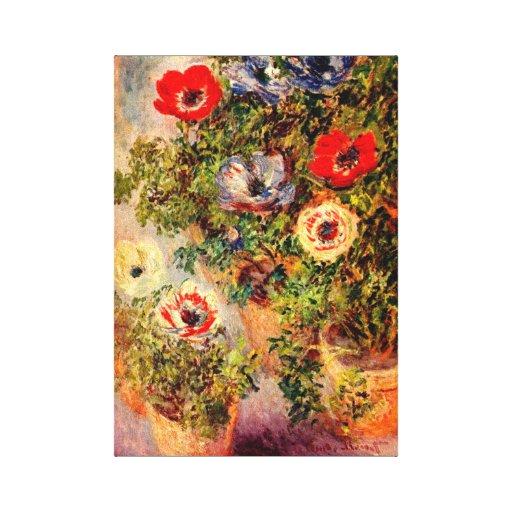 Anemones Still Life Monet Fine Art Canvas Print