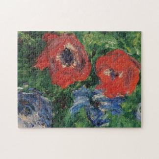 Anemones & Tulips in a Blue Vase Monet Fine Art Jigsaw Puzzle