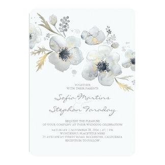 Anemones Vintage Bouquet Watercolor Wedding Card