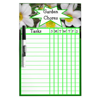 Anemones weekly garden chores dry erase boards