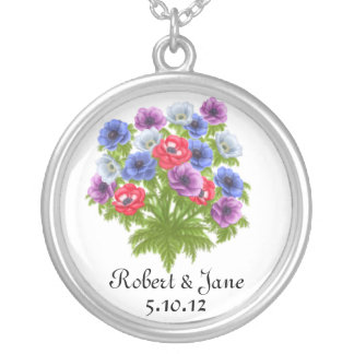 Anenome Flowers Bridal Bouquet Necklace