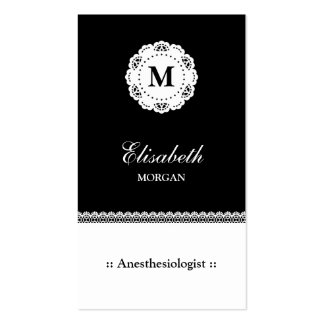 Anesthesiologist Black White Lace Monogram Double-Sided Standard Business Cards (Pack Of 100)