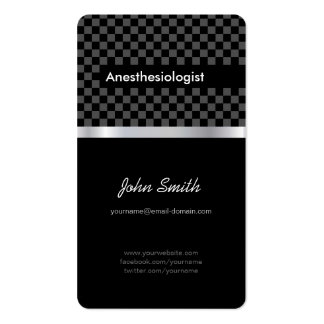 Anesthesiologist - Elegant Black Checkered Double-Sided Standard Business Cards (Pack Of 100)