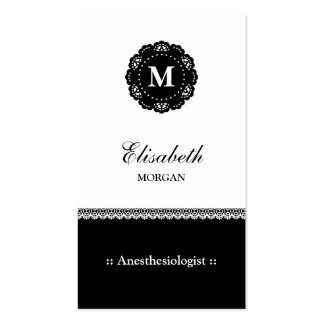 Anesthesiologist Elegant Black Lace Monogram Double-Sided Standard Business Cards (Pack Of 100)