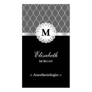 Anesthesiologist Elegant Black Lace Pattern Double-Sided Standard Business Cards (Pack Of 100)
