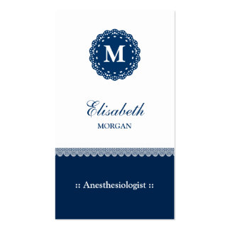 Anesthesiologist Elegant Blue Lace Monogram Double-Sided Standard Business Cards (Pack Of 100)