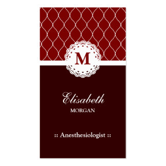 Anesthesiologist Elegant Brown Lace Pattern Double-Sided Standard Business Cards (Pack Of 100)