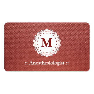 Anesthesiologist Lace Monogram Maroon Double-Sided Standard Business Cards (Pack Of 100)