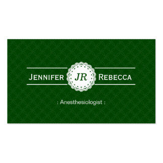 Anesthesiologist - Modern Monogram Green Double-Sided Standard Business Cards (Pack Of 100)