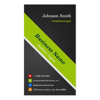 Anesthesiologist - Premium Black Green Double-Sided Standard Business Cards (Pack Of 100)