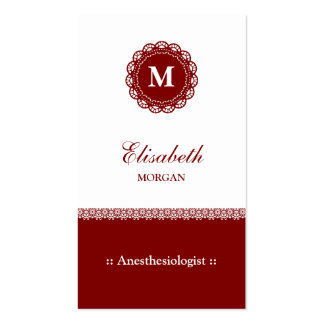 Anesthesiologist Red Monogram Double-Sided Standard Business Cards (Pack Of 100)