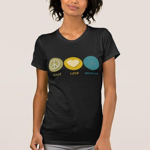 Anesthesiology del amor de la paz camiseta