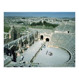 Anfiteatro romano con la plaza oval detrás, Jarash Tarjeton