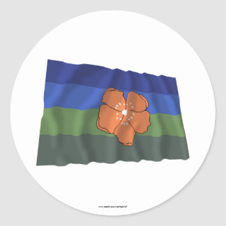 Angaur Waving Flag Classic Round Sticker