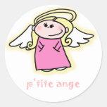 Ange menudo (poco ángel en francés) etiquetas redondas