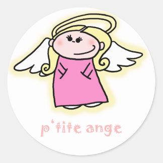 Ange menudo (poco ángel en francés) pegatina redonda