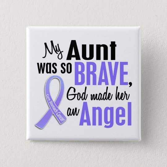 Angel 1 Aunt Stomach Cancer Pinback Button