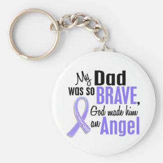 Angel 1 Dad Stomach Cancer Basic Round Button Keychain