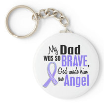 Angel 1 Dad Stomach Cancer Keychain