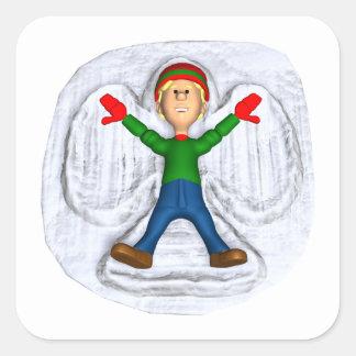 Ángel 1 de la nieve calcomania cuadradas