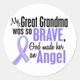Angel 1 Great Grandma Stomach Cancer Classic Round Sticker