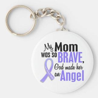 Angel 1 Mom Stomach Cancer Basic Round Button Keychain