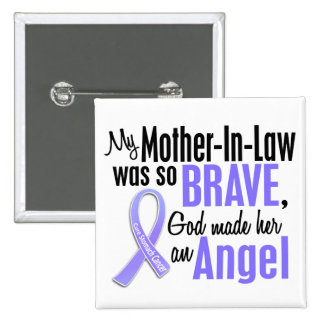 Angel 1 Mother-In-Law Stomach Cancer 2 Inch Square Button
