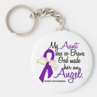 Angel 2 Aunt Pancreatic Cancer Basic Round Button Keychain