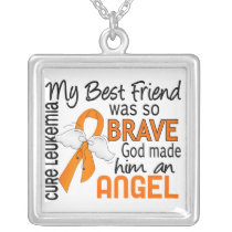 Angel 2 Best Friend (Male) Leukemia Silver Plated Necklace
