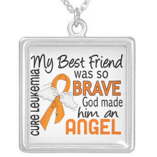Angel 2 Best Friend (Male) Leukemia Square Pendant Necklace