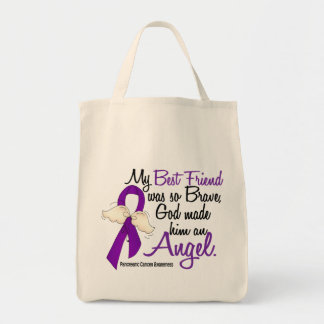 Angel 2 Best Friend (Male) Pancreatic Cancer Tote Bags