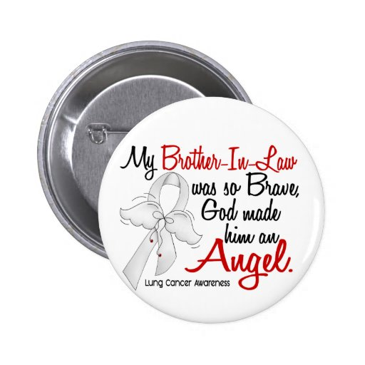 Angel 2 Brother-In-Law Lung Cancer Pinback Button