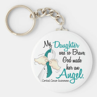 Angel 2 Cervical Cancer Daughter Basic Round Button Keychain