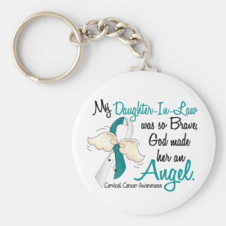 Angel 2 Cervical Cancer Daughter-In-Law Basic Round Button Keychain