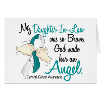 Angel 2 Cervical Cancer Daughter-In-Law Greeting Card
