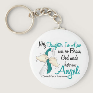 Angel 2 Cervical Cancer Daughter-In-Law Keychain