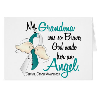 Angel 2 Cervical Cancer Grandma Greeting Card