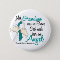 Angel 2 Cervical Cancer Grandma Pinback Button