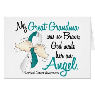 Angel 2 Cervical Cancer Great Grandma Greeting Card