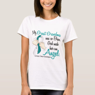 Angel 2 Cervical Cancer Great Grandma T-Shirt