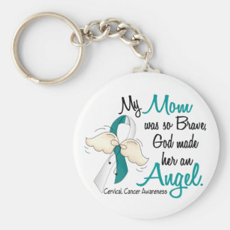 Angel 2 Cervical Cancer Mom Basic Round Button Keychain