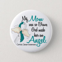 Angel 2 Cervical Cancer Mom Pinback Button