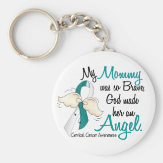 Angel 2 Cervical Cancer Mommy Basic Round Button Keychain