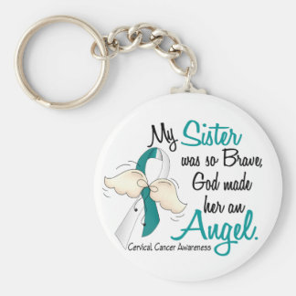 Angel 2 Cervical Cancer Sister Basic Round Button Keychain