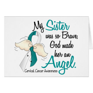 Angel 2 Cervical Cancer Sister Greeting Card