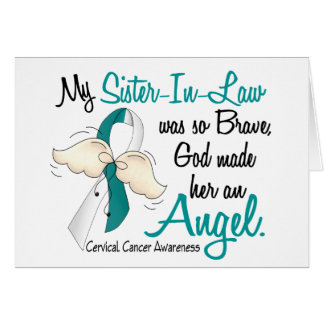 Angel 2 Cervical Cancer Sister-In-Law Greeting Card