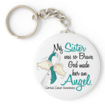 Angel 2 Cervical Cancer Sister Keychain