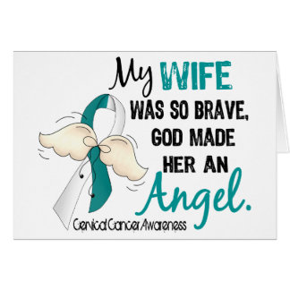 Angel 2 Cervical Cancer Wife Greeting Card